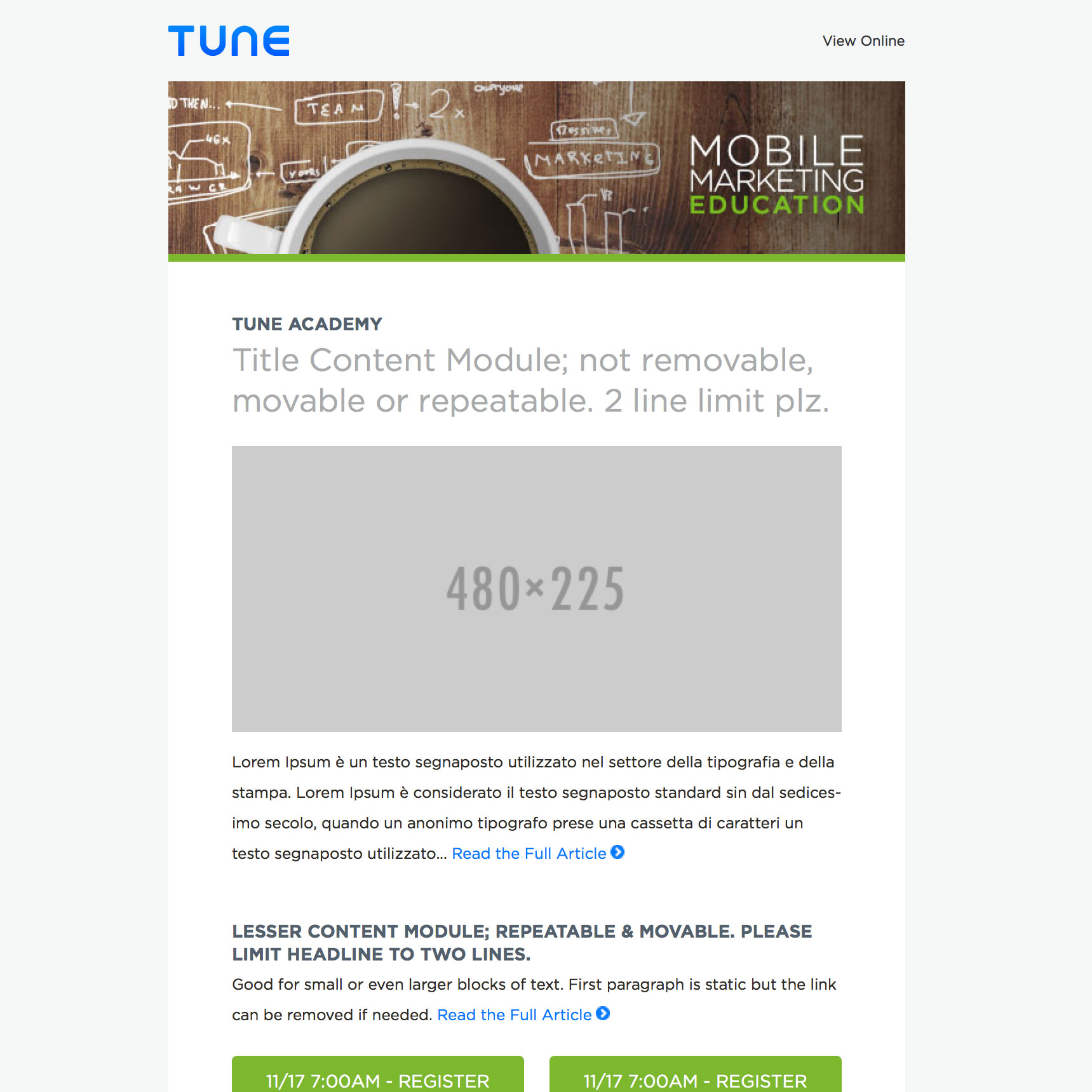A screenshot of the TUNE email templates circa 2015.