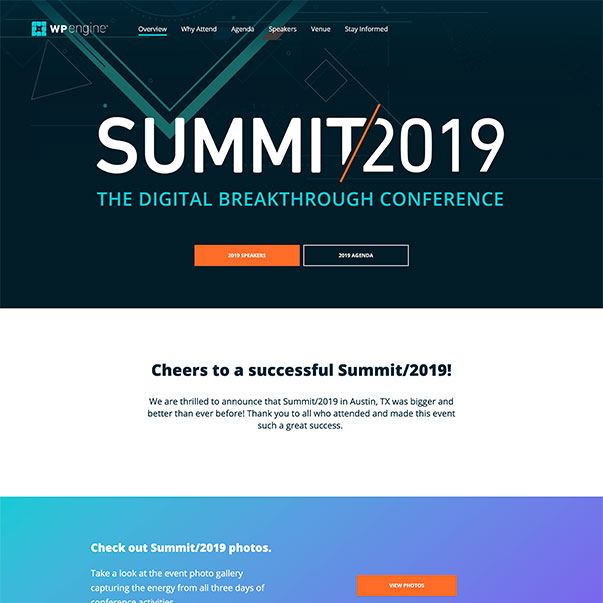 A screenshot of the WP Engine Summit 2019 homepage.