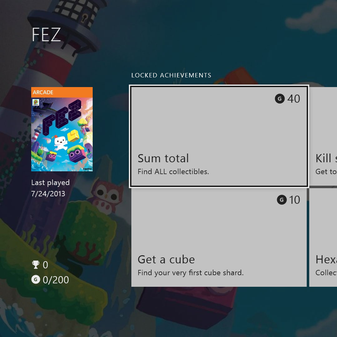 A screenshot of the original Xbox One Achievements application that was launched with the console in 2013.