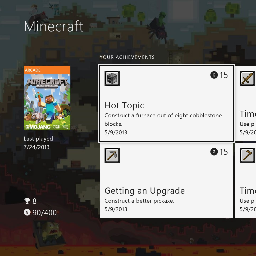 A screenshot of the Xbox One Achievements application that was launched with the console in 2013.