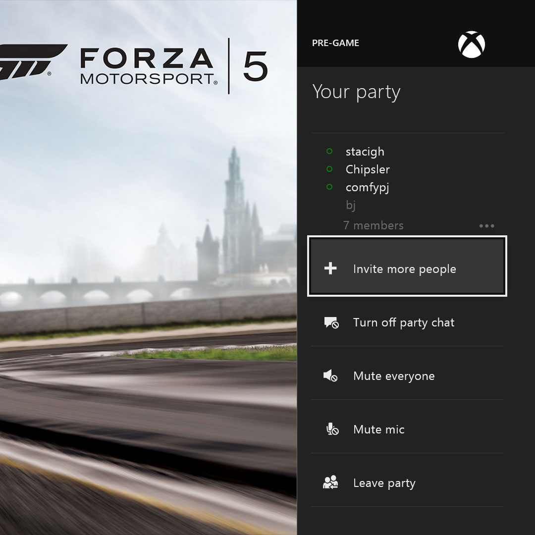 A screenshot of the Xbox One Party application that was launched with the console in 2013.